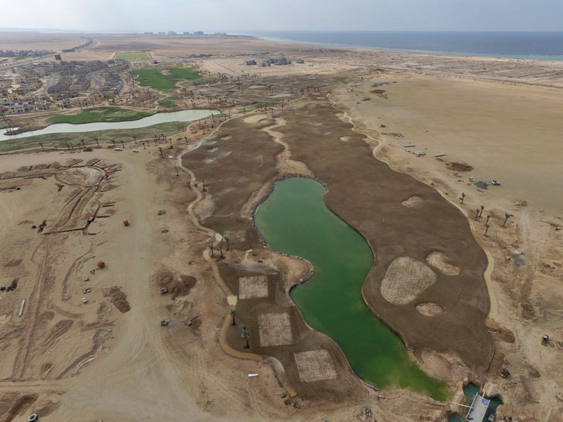 Aerial view of Hole 1 and 9 Royals Greens Golf and Country Club, Saudi Arabia